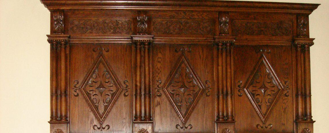 Carved Oak Overmantle