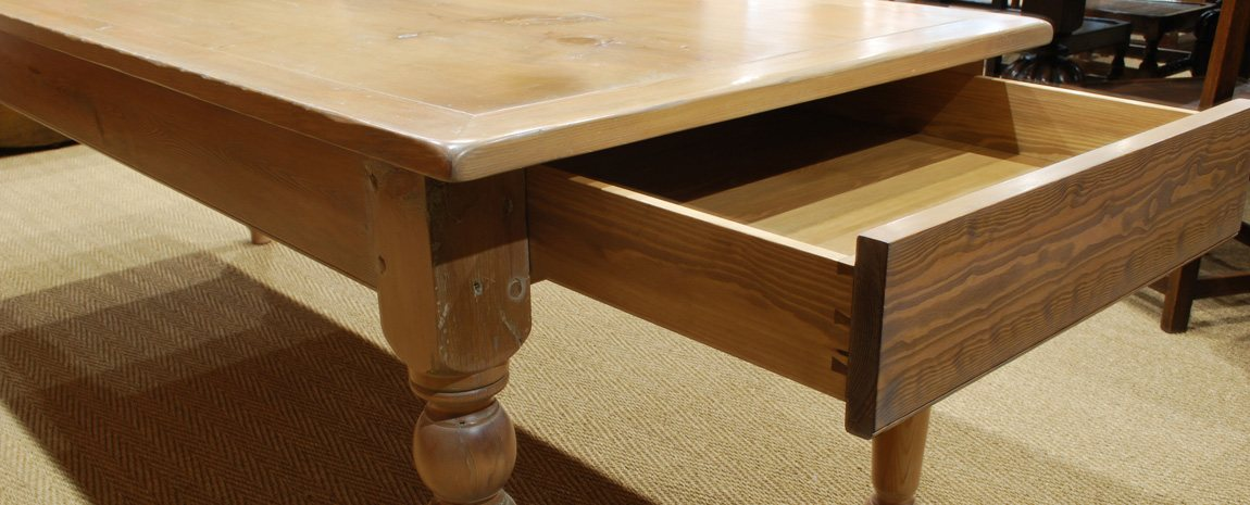 Pine Farmhouse Table with Drawer Under