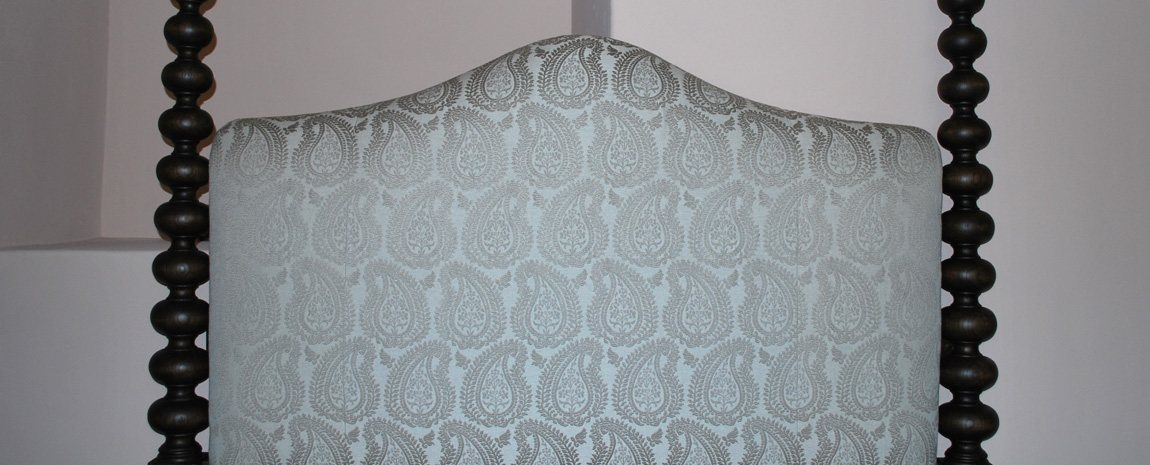 Upholstered Headboard of Bespoke 4 Post Bed