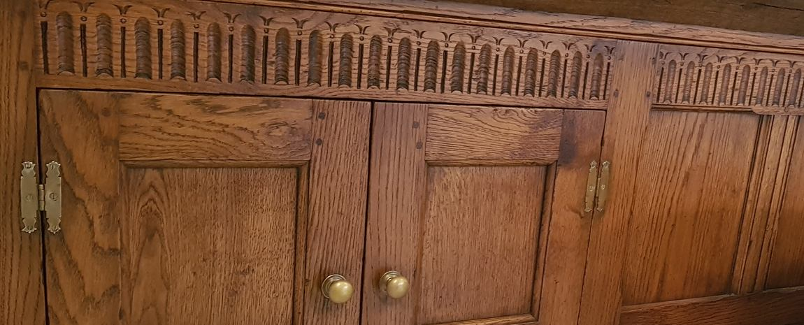 Oak Panel with Built in Cupboard and Hand Carving