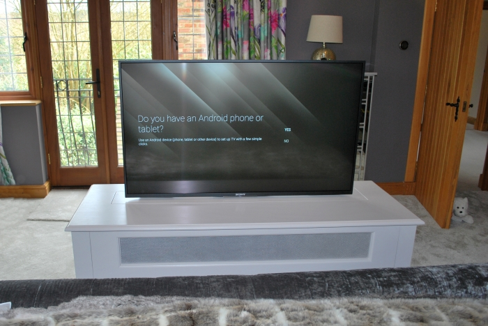 A Painted Bed End Cabinet with TV Lift System
