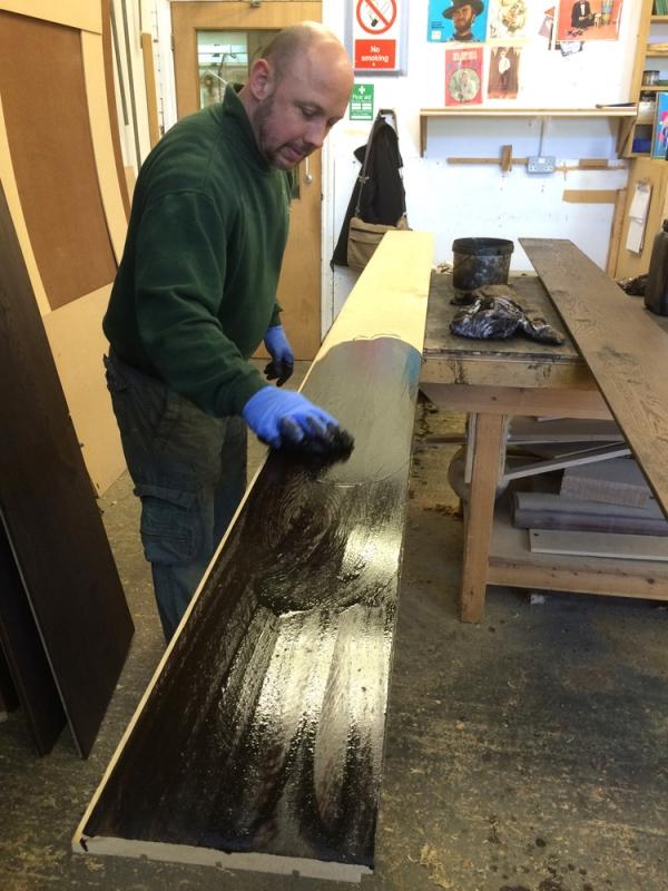Hand Staining the Oak Floor