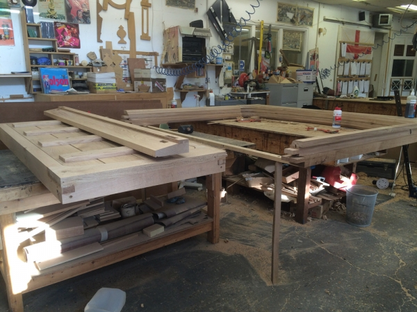 Oak Door Frame being assembled in our workshop