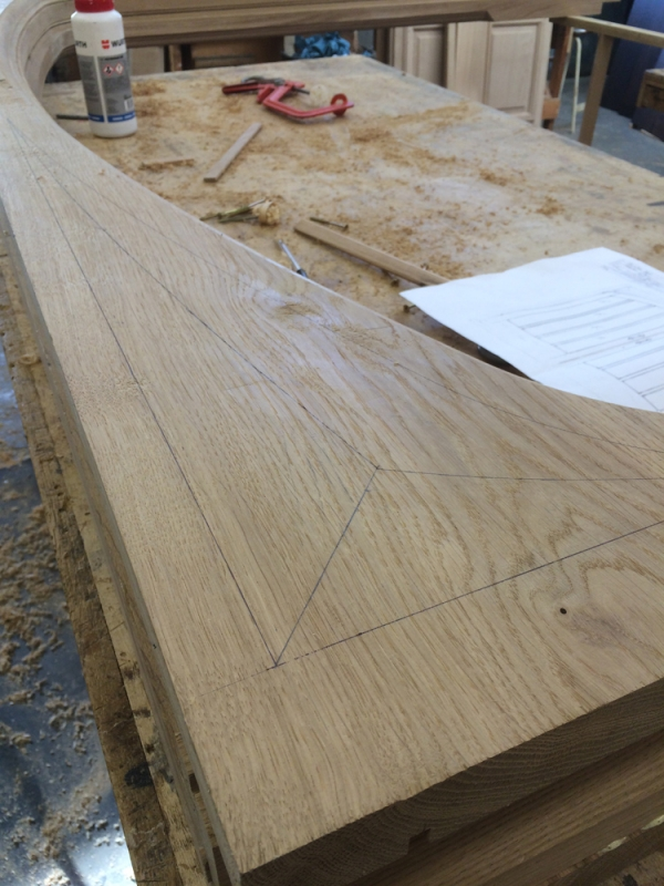 Frame Head Spandrels marked out ready for Hand Carving