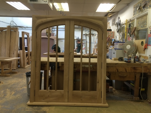 Oak Doors and Frames in our workshop ready for polishing