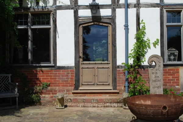 Oak Door with Double Glazed Unit and Bespoke Fittings