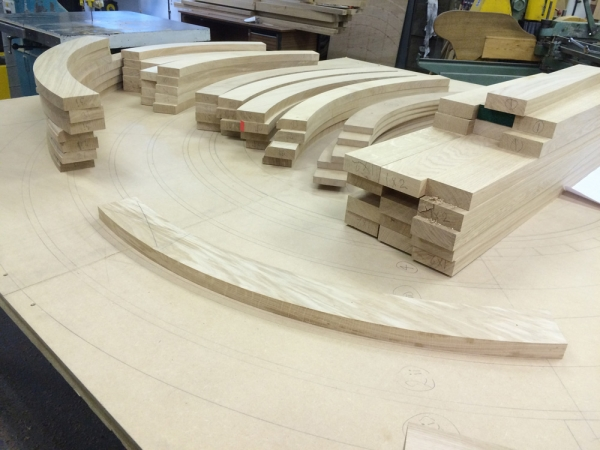 Cutting timber and jointing to our full sized drawing