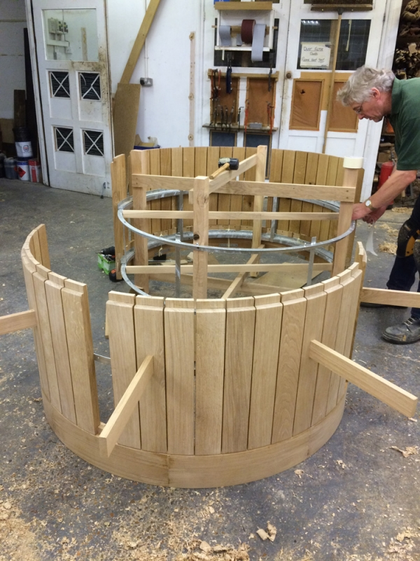 Oak Staves being fitted to the outer metal ring