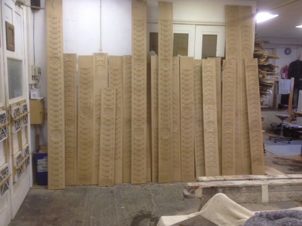 Some of the Hand Carved column sides in our workshop