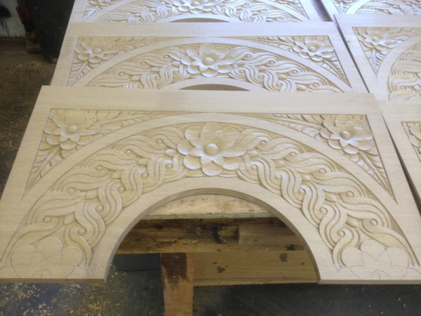 Some of the Hand Carved column arches in our workshop