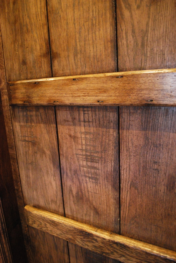 Oak Boarded Door showing Ageing and Colouring detail