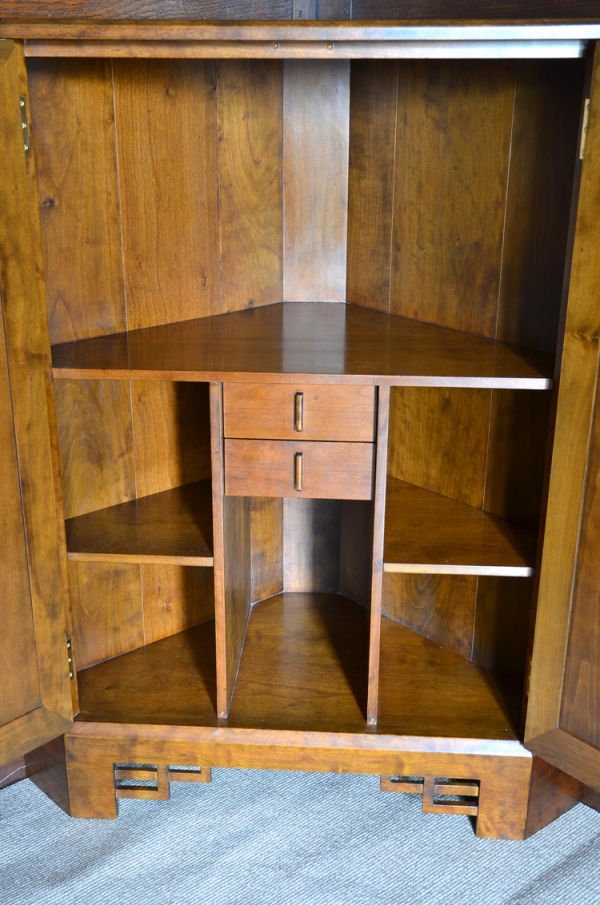 Inside the Corner Cabinet showing Drawers and Shelving