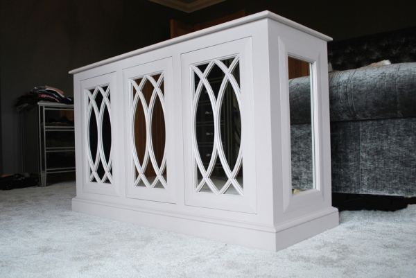 Painted TV Cabinet with Decorative Moulding