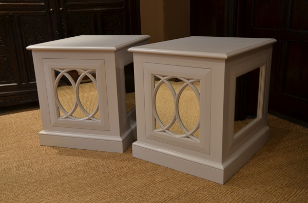 Painted Bedside Cabinets with Decorative Moulding and Mirrored Panels
