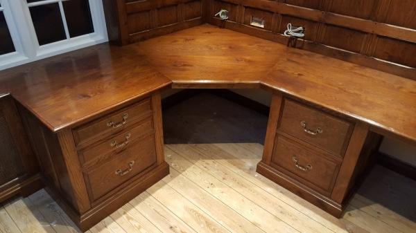 Corner Oak Pedestal Desk being Fitted
