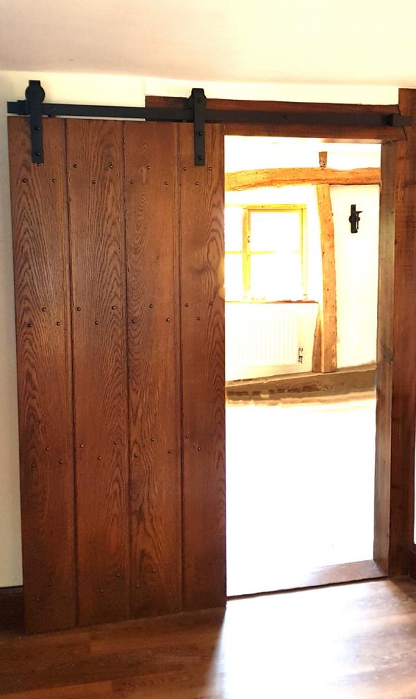 Oak Sliding Door with Black Iron Track