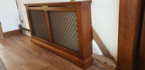 Solid Oak Radiator Cover with Removable Front Grille Panel
