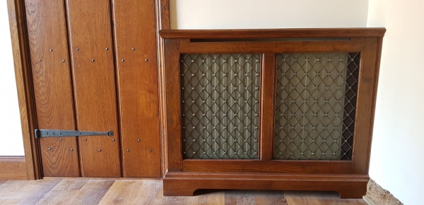 Solid Oak Radiator Cover with Brass Grille