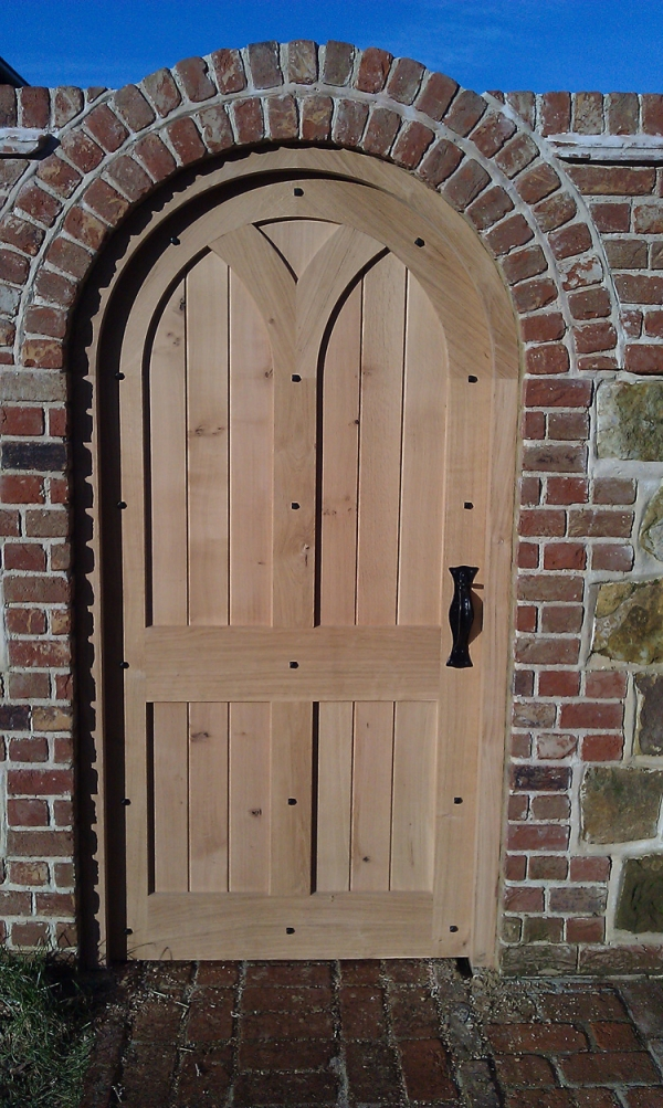 A Shaped and Boarded Solid Oak Walled Garden Gate
