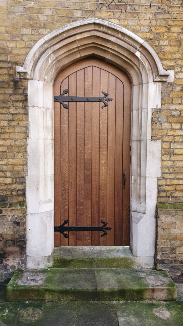 High quality Oak Garden Door with Bespoke Hand Forged Ironmongery