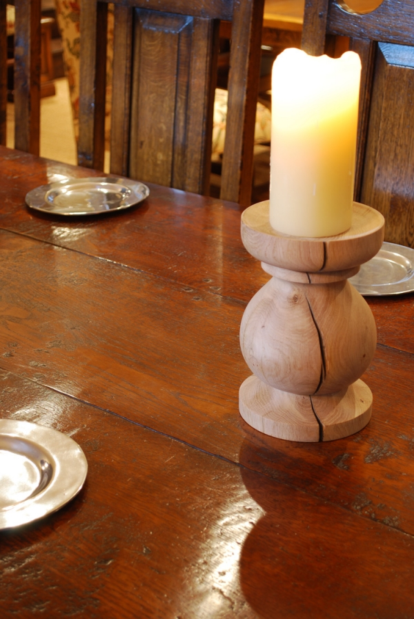 Hand Turned Oak Candle Stick Holder