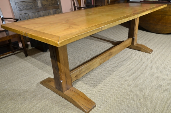 Bespoke Oak Trestle Table with a Single Cedar Board Top Lipped with an Oak Border