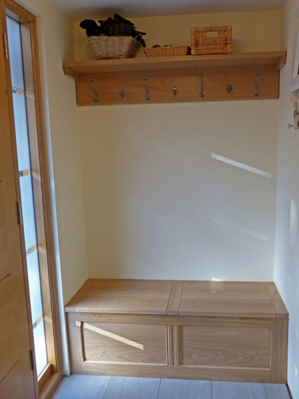 Oak shelf with Coat Hooks and an Oak Storage Seat