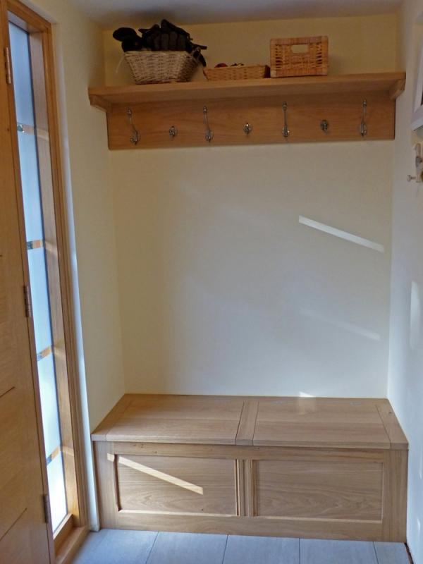 Oak shelf with Coat Hooks and an Oak Storage Seat
