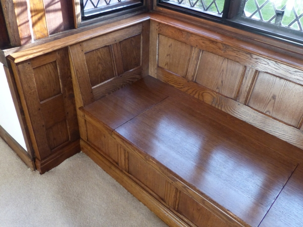 Beautifully Fitted Oak Window Seat and Side Panels