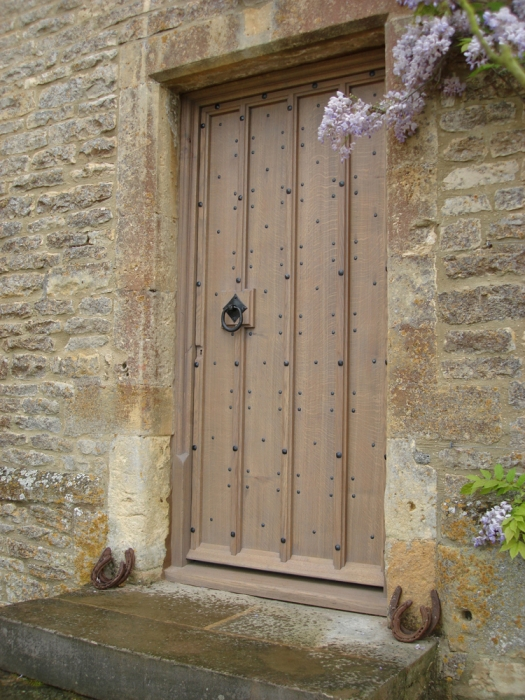 Solid Oak Boarded Front Door with Cover Strips over Joints and Hand Made Ironmongery