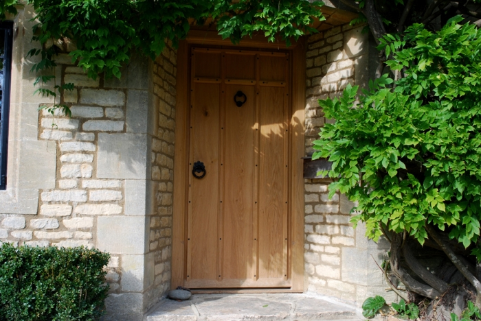 Heavy Solid Oak Planked Door with Cover Moulding and Hand Made Ironmongery