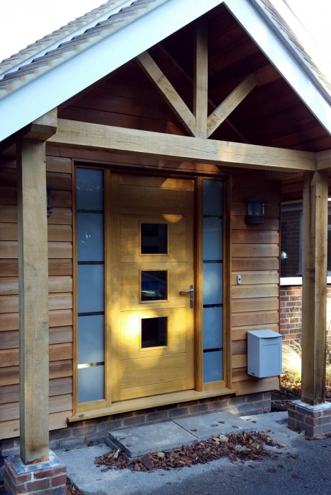 Solid Oak Contemporary Front door and Frame with Etched Glass Double Glazed Side light Units
