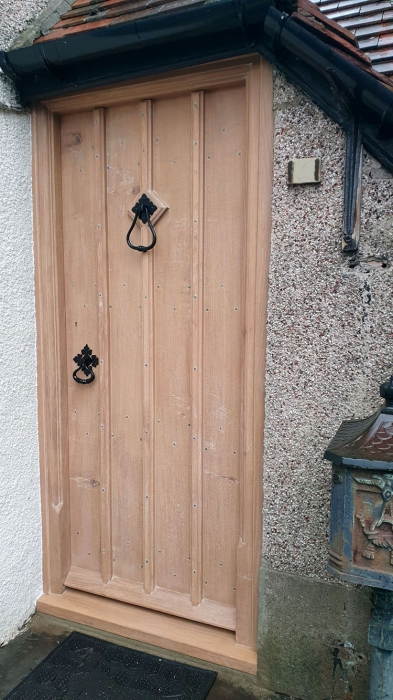 Solid Oak Boarded Front Door and Frame