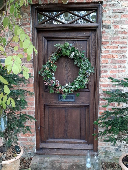 Oak Front Door and Frame with Transom Window